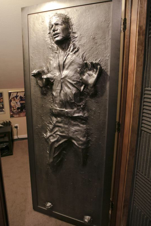 Exceptional Han In Carbonite Door. Not Sure Who The Credit Goes To, But It Will Fit  Perfectly On My Mancave/office Door, Without Taking Up Alot Of Space.