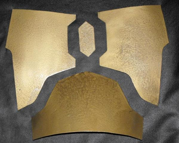 chest and abdomen plates of armor cut from plastic storage bin