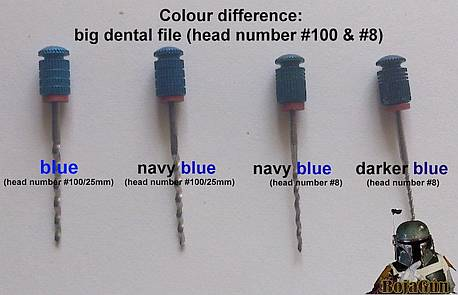 Colour Difference big blue dental file (Head No 100 &  No 8)