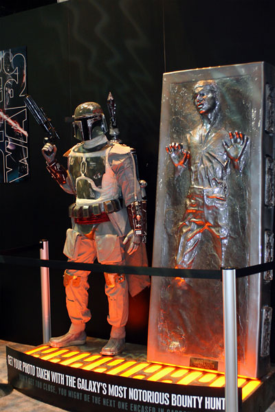 Cool Boba Fett and Han Solo in Carbonite Display